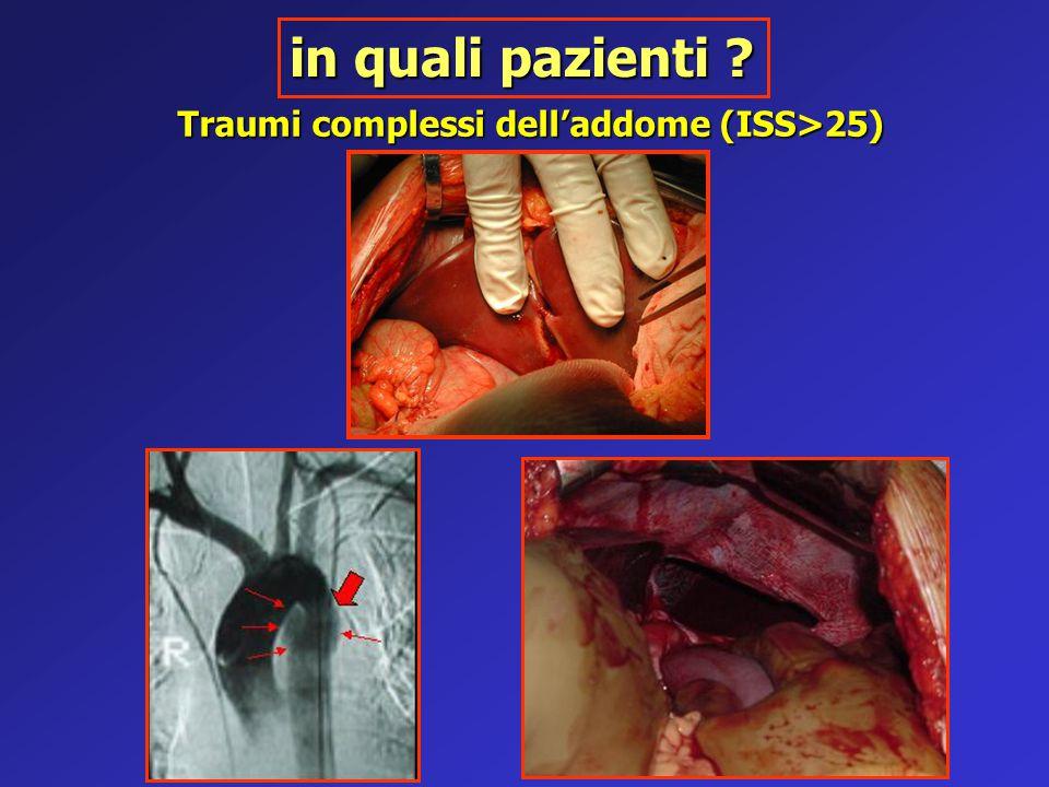 in quali pazienti Traumi complessi dell'addome (ISS>25)