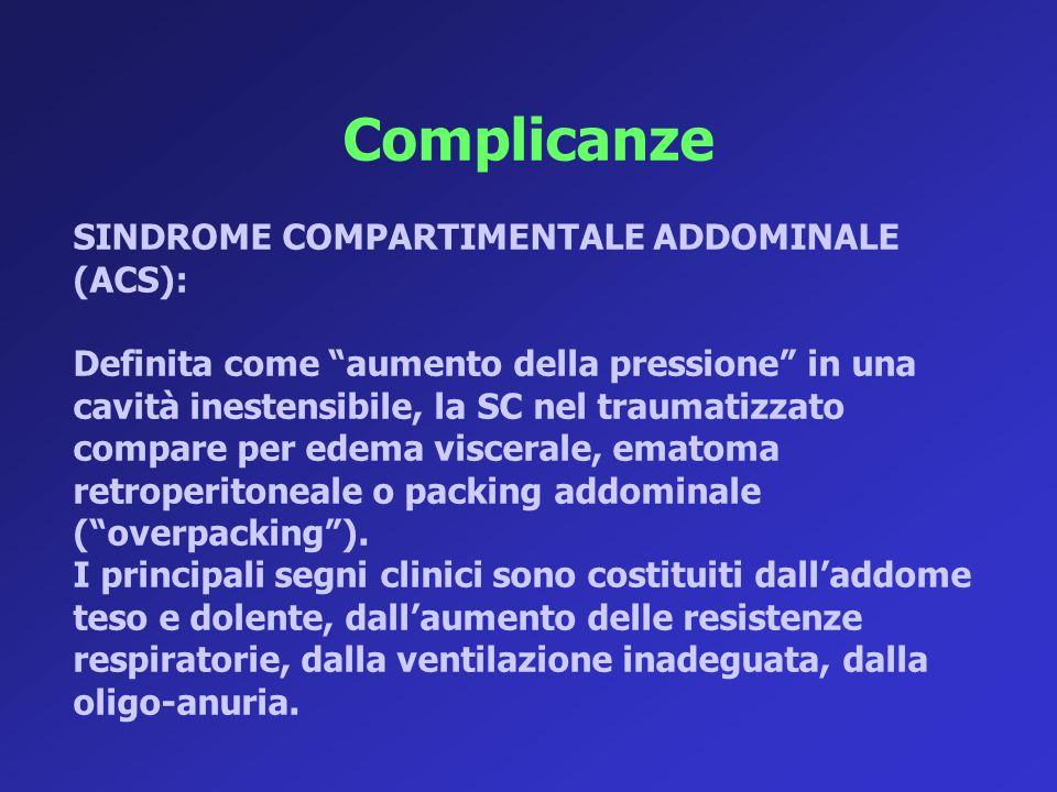 Complicanze SINDROME COMPARTIMENTALE ADDOMINALE (ACS):