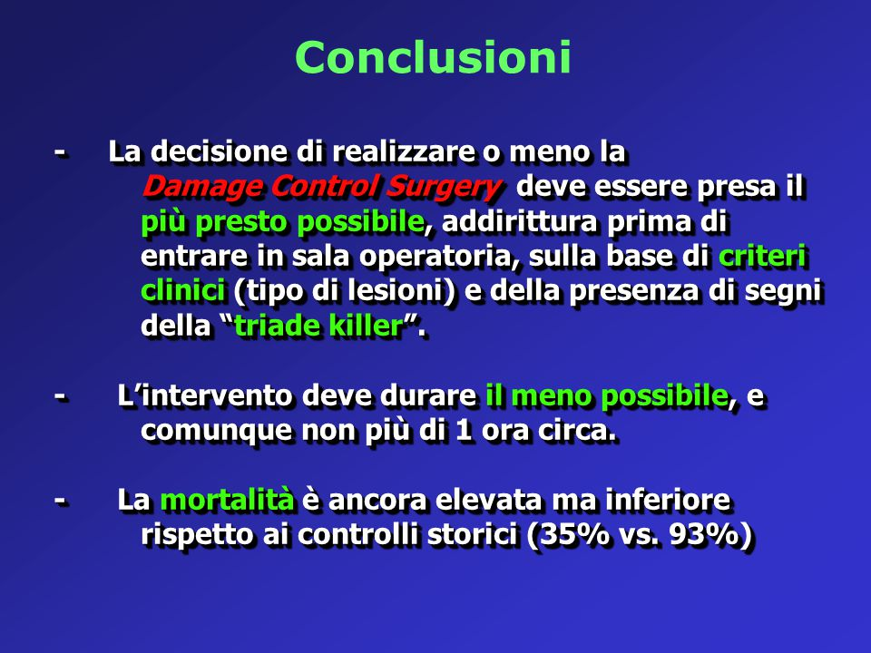 Conclusioni - La decisione di realizzare o meno la