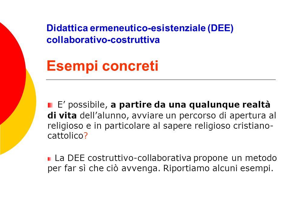 Didattica ermeneutico-esistenziale (DEE) collaborativo-costruttiva Esempi concreti