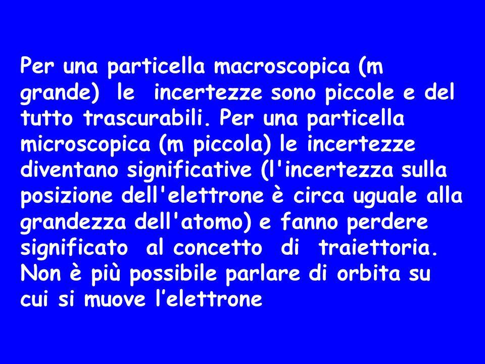 Per una particella macroscopica (m grande) le incertezze sono piccole e del tutto trascurabili. Per una particella microscopica (m piccola) le incertezze diventano significative (l incertezza sulla posizione dell elettrone è circa uguale alla grandezza dell atomo) e fanno perdere significato al concetto di traiettoria.