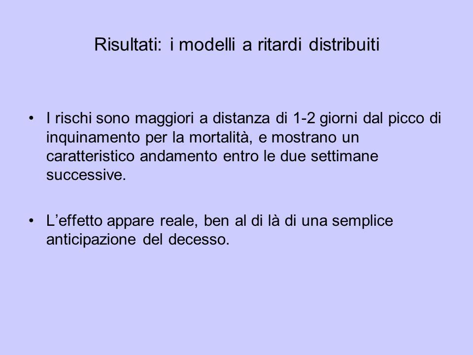 Risultati: i modelli a ritardi distribuiti