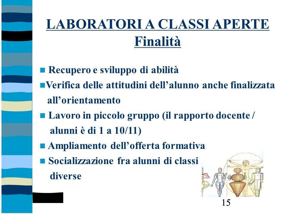LABORATORI A CLASSI APERTE Finalità