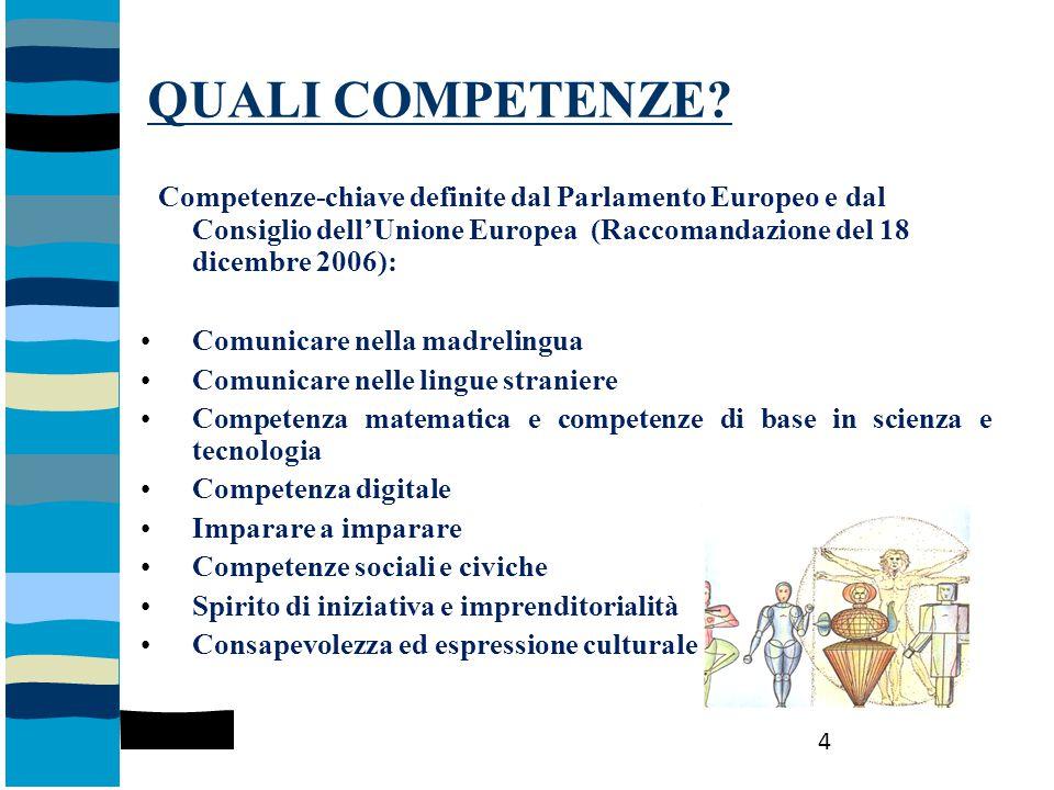 QUALI COMPETENZE Competenze-chiave definite dal Parlamento Europeo e dal Consiglio dell'Unione Europea (Raccomandazione del 18 dicembre 2006):