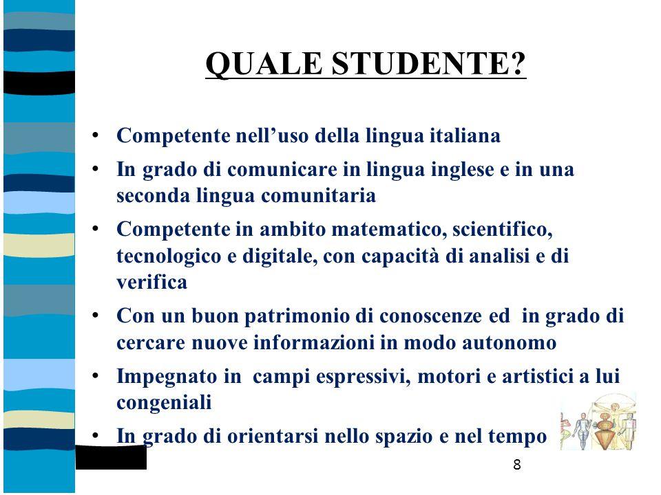 QUALE STUDENTE Competente nell'uso della lingua italiana