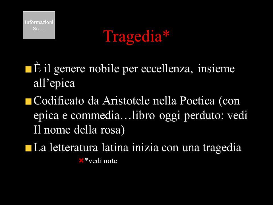Tragedia* È il genere nobile per eccellenza, insieme all'epica