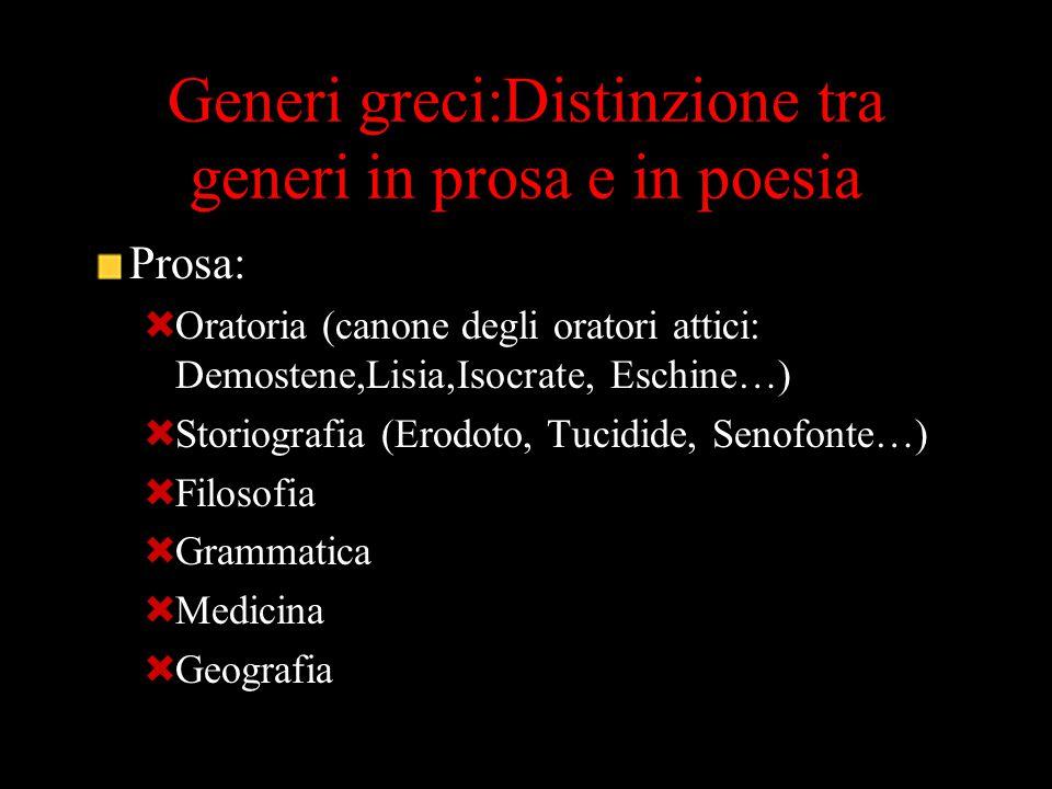 Generi greci:Distinzione tra generi in prosa e in poesia