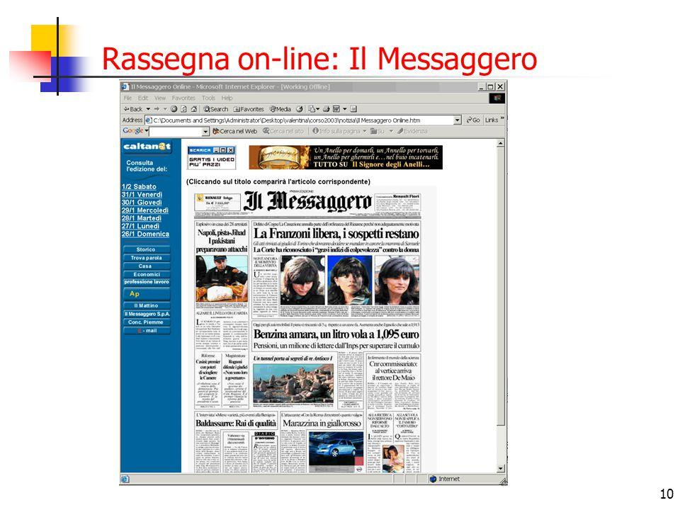 Rassegna on-line: Il Messaggero