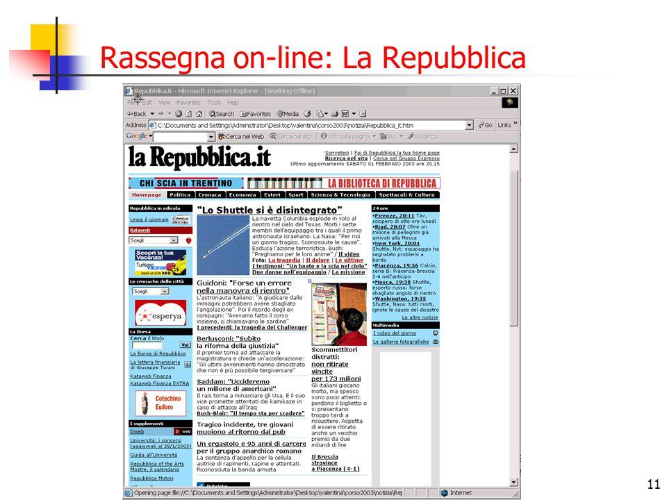 Rassegna on-line: La Repubblica