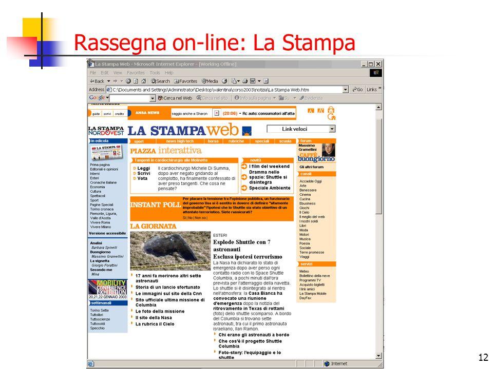 Rassegna on-line: La Stampa