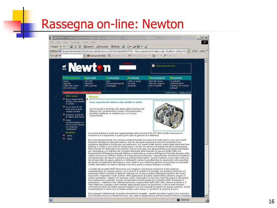 Rassegna on-line: Newton