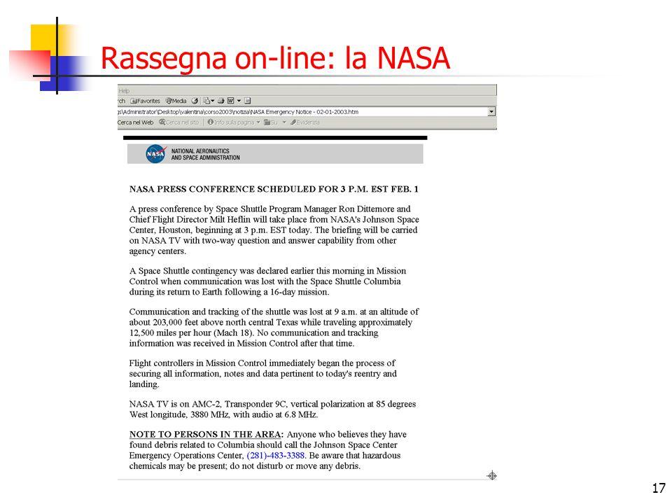 Rassegna on-line: la NASA