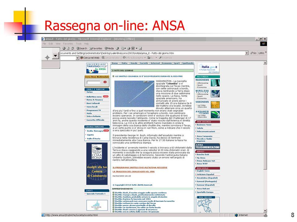 Rassegna on-line: ANSA