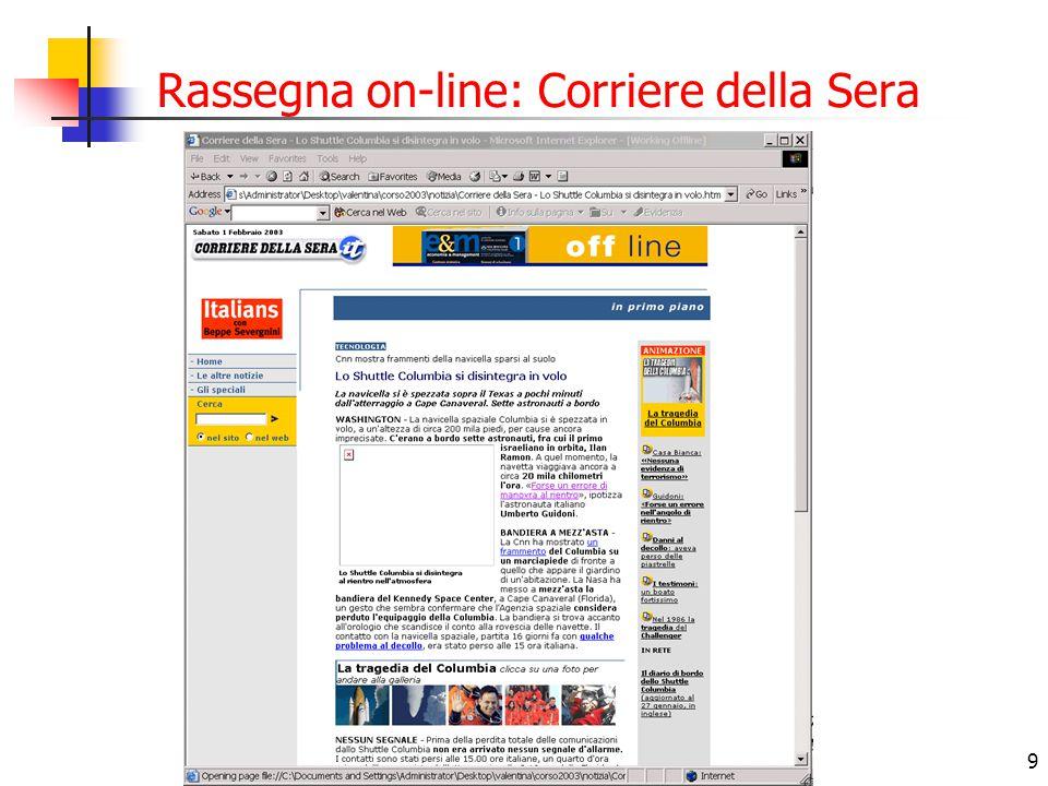 Rassegna on-line: Corriere della Sera