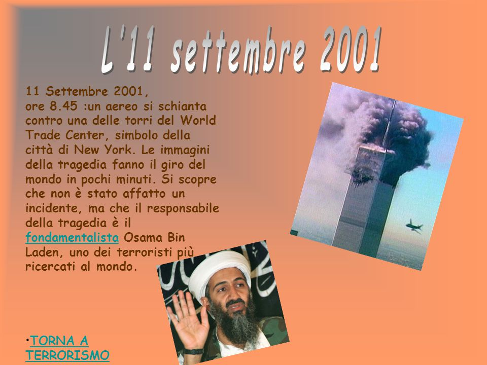 L'11 settembre 2001 11 Settembre 2001,