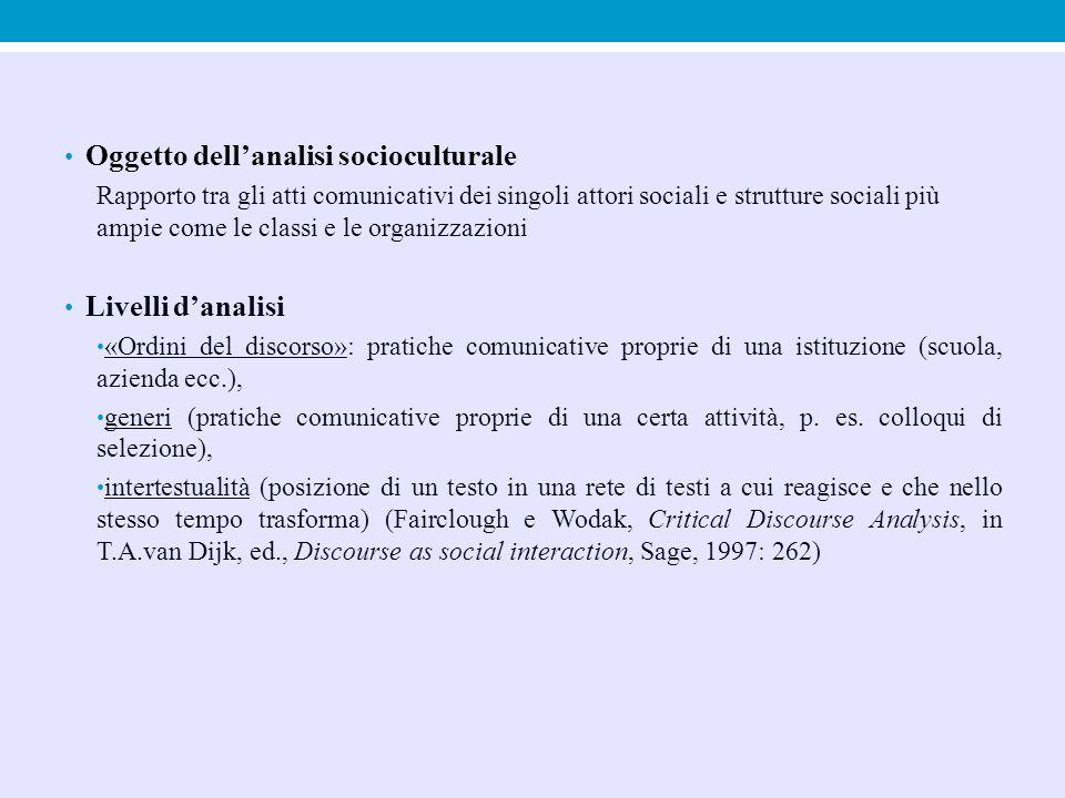 Oggetto dell'analisi socioculturale