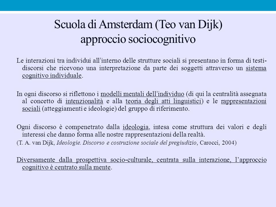 Scuola di Amsterdam (Teo van Dijk) approccio sociocognitivo