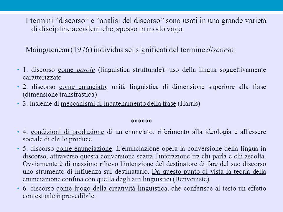Maingueneau (1976) individua sei significati del termine discorso: