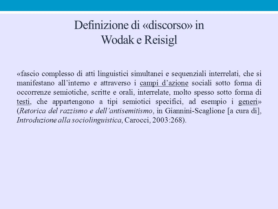 Definizione di «discorso» in Wodak e Reisigl