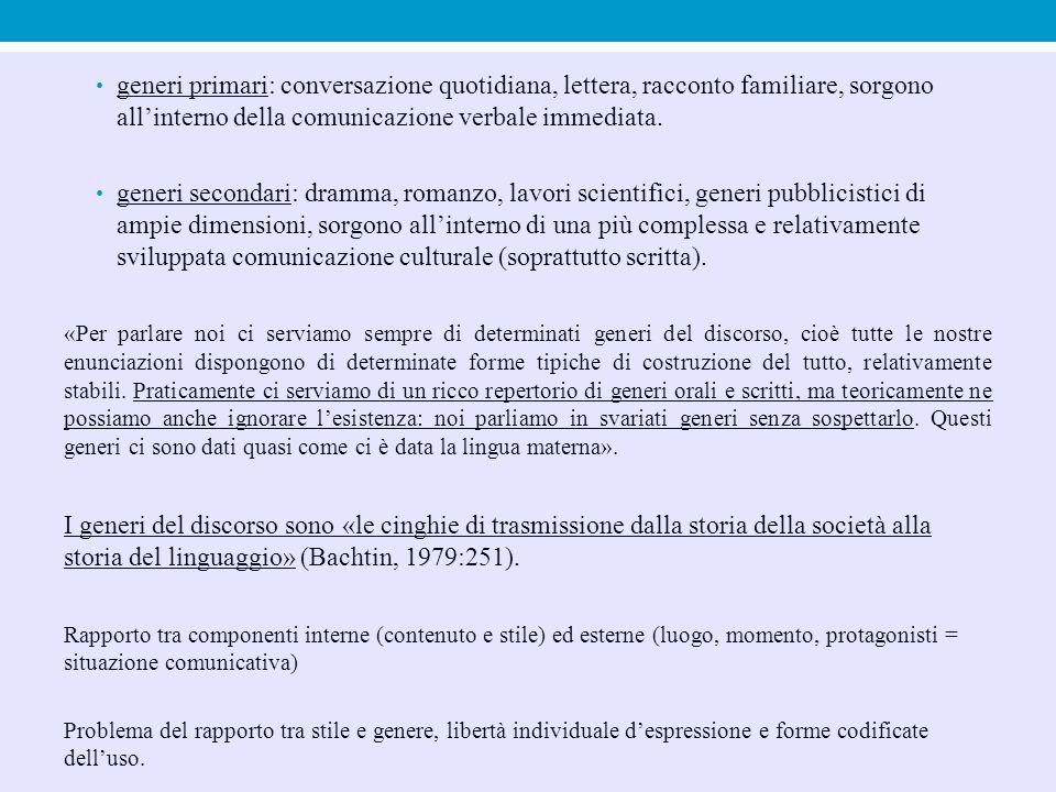 generi primari: conversazione quotidiana, lettera, racconto familiare, sorgono all'interno della comunicazione verbale immediata.