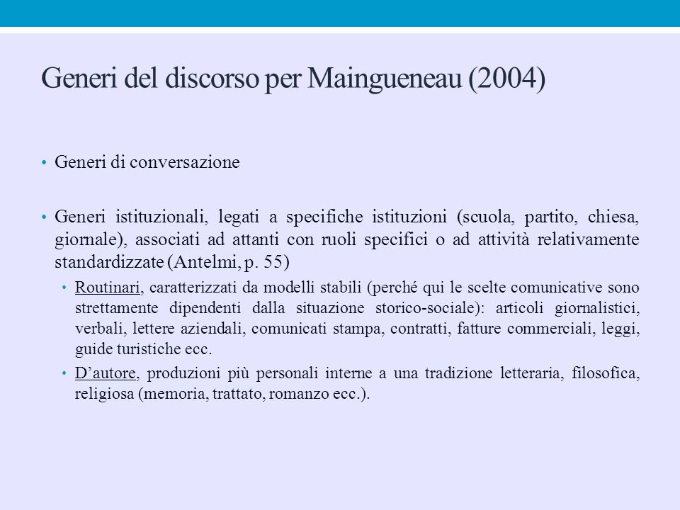 Generi del discorso per Maingueneau (2004)