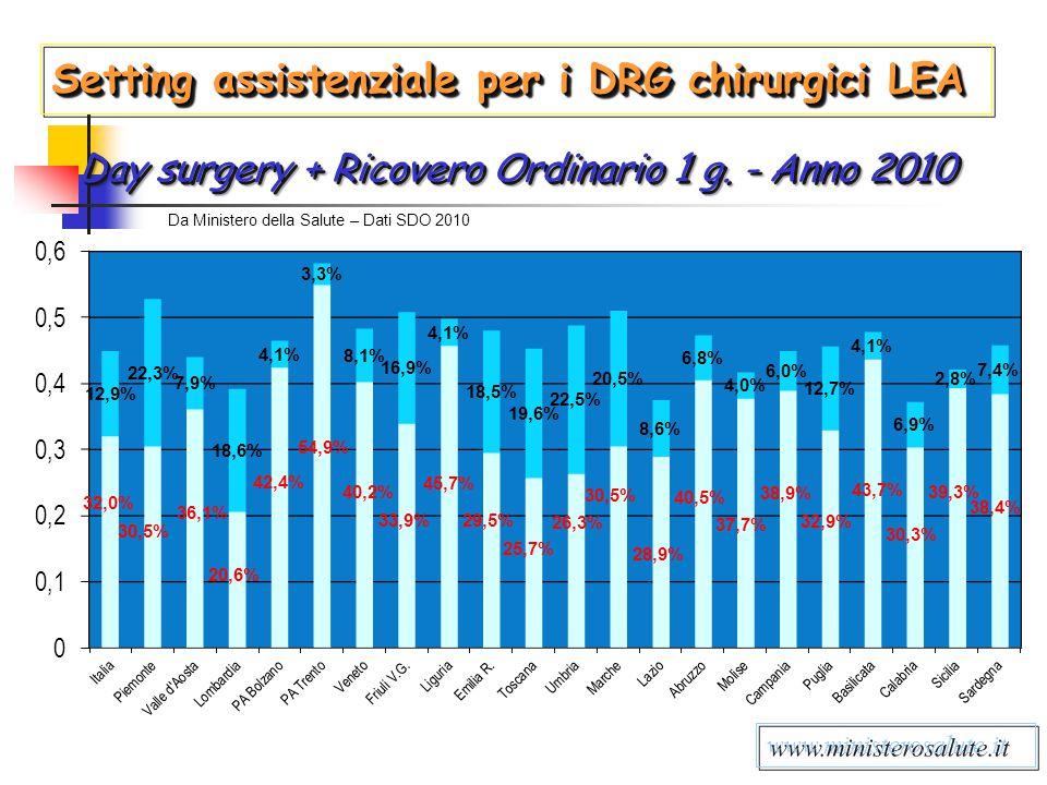 Day surgery + Ricovero Ordinario 1 g. - Anno 2010