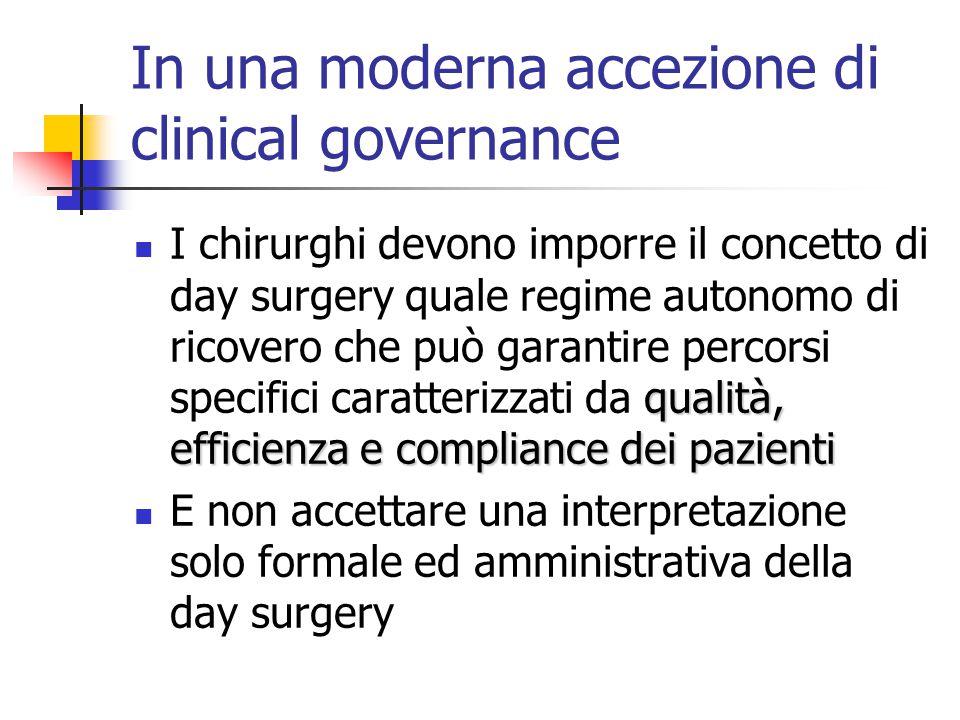 In una moderna accezione di clinical governance