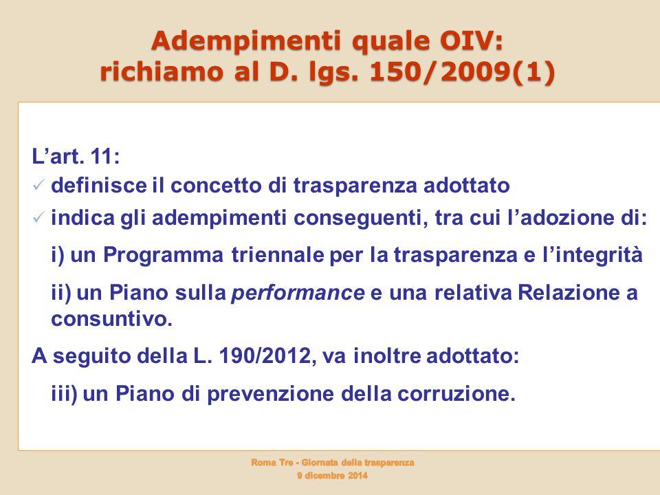Adempimenti quale OIV: richiamo al D. lgs. 150/2009(1)