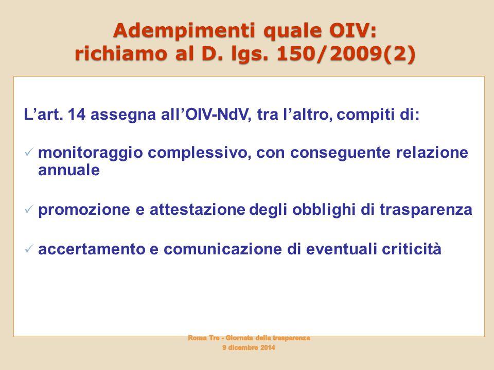 Adempimenti quale OIV: richiamo al D. lgs. 150/2009(2)