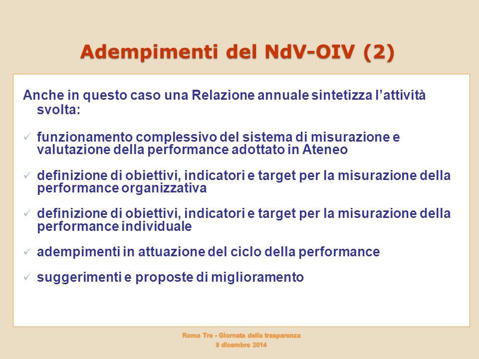 Adempimenti del NdV-OIV (2)