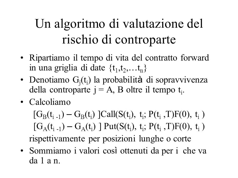 Un algoritmo di valutazione del rischio di controparte