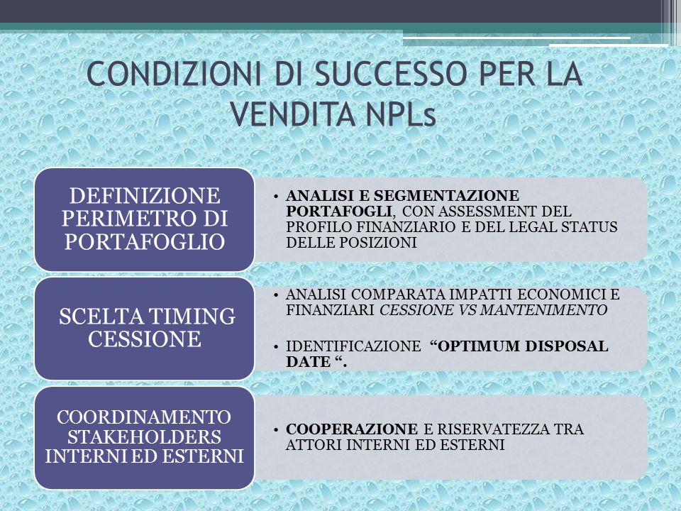 CONDIZIONI DI SUCCESSO PER LA VENDITA NPLs