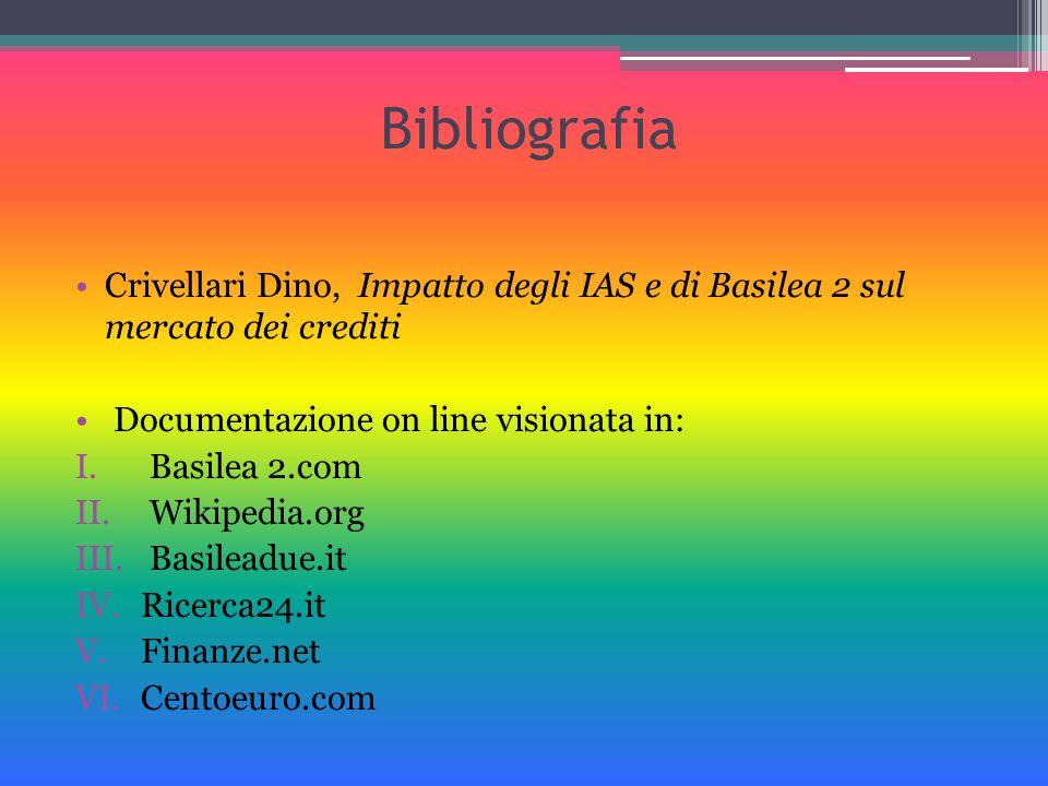 Bibliografia Crivellari Dino, Impatto degli IAS e di Basilea 2 sul mercato dei crediti. Documentazione on line visionata in: