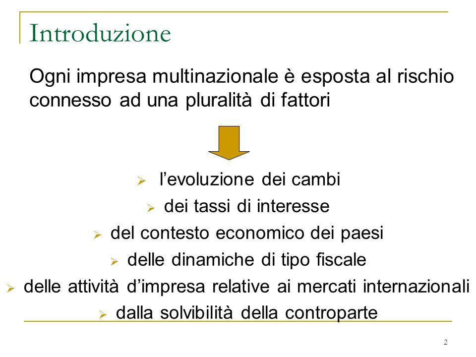 Introduzione Ogni impresa multinazionale è esposta al rischio connesso ad una pluralità di fattori.