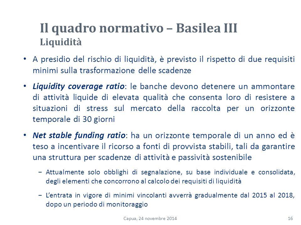 Il quadro normativo – Basilea III Liquidità