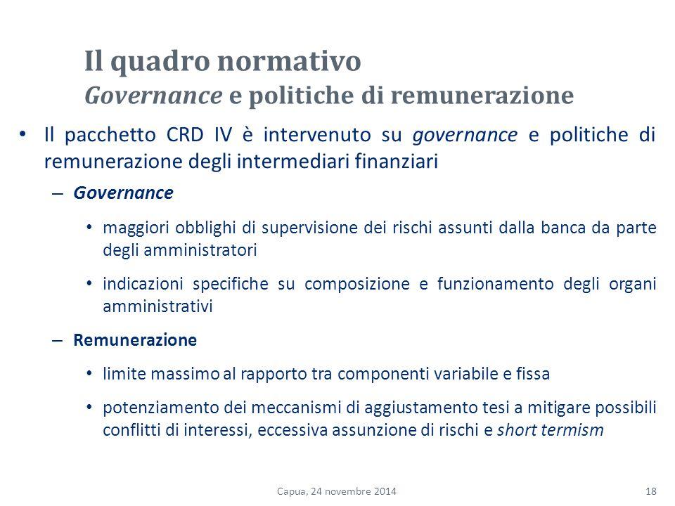 Il quadro normativo Governance e politiche di remunerazione