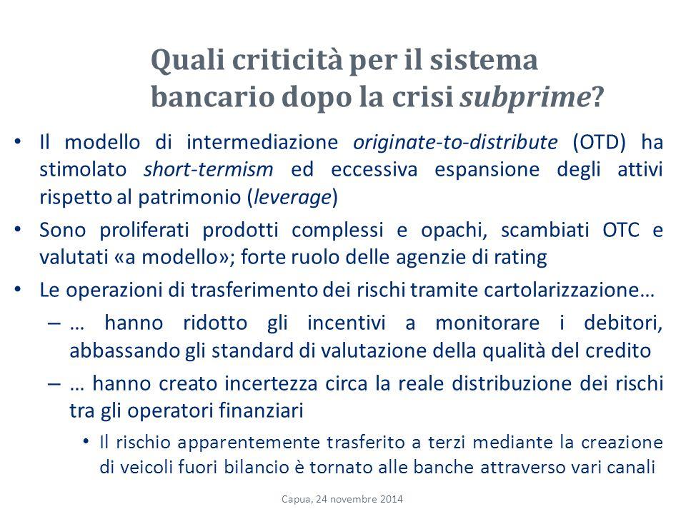 Quali criticità per il sistema bancario dopo la crisi subprime