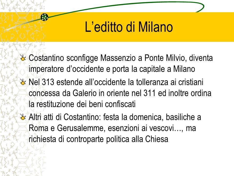 L'editto di Milano Costantino sconfigge Massenzio a Ponte Milvio, diventa imperatore d'occidente e porta la capitale a Milano.