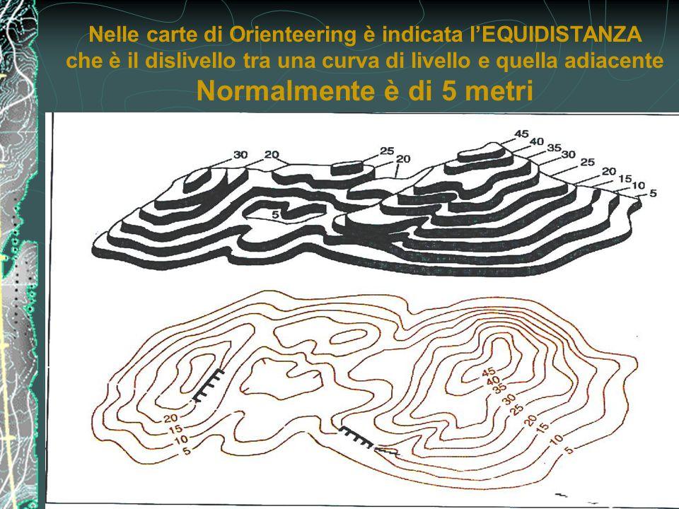 Nelle carte di Orienteering è indicata l'EQUIDISTANZA che è il dislivello tra una curva di livello e quella adiacente Normalmente è di 5 metri