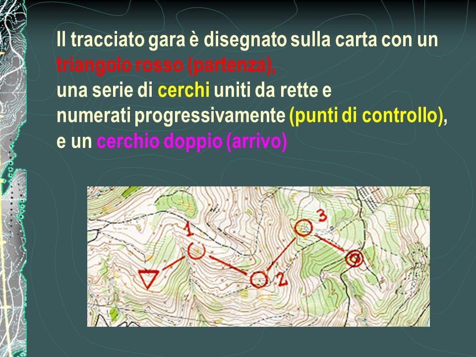 Il tracciato gara è disegnato sulla carta con un triangolo rosso (partenza), una serie di cerchi uniti da rette e numerati progressivamente (punti di controllo), e un cerchio doppio (arrivo)