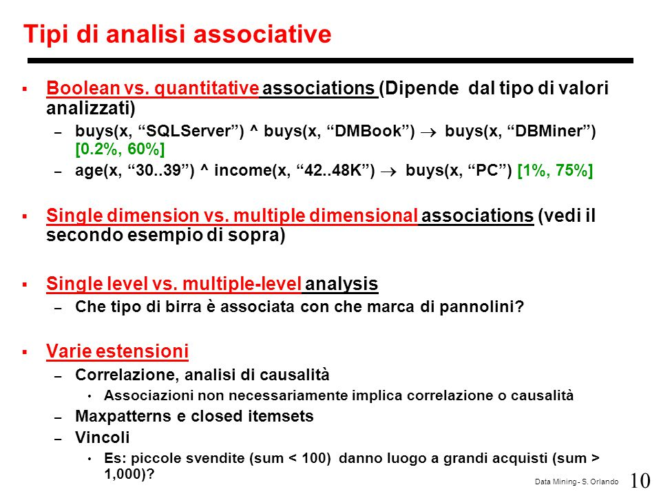 Tipi di analisi associative