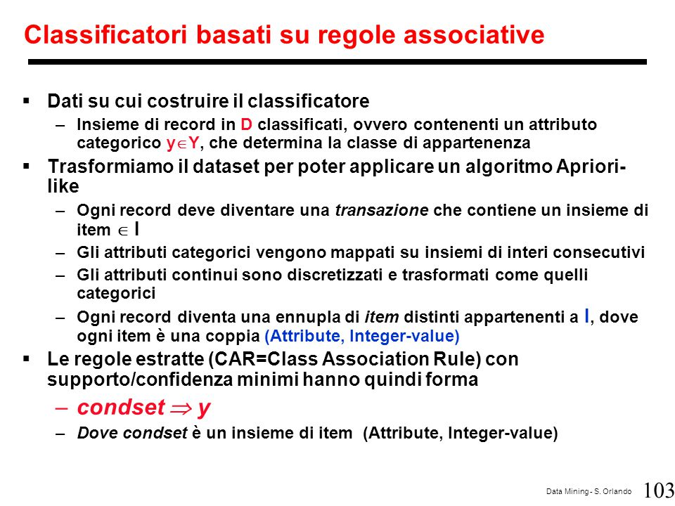 Classificatori basati su regole associative