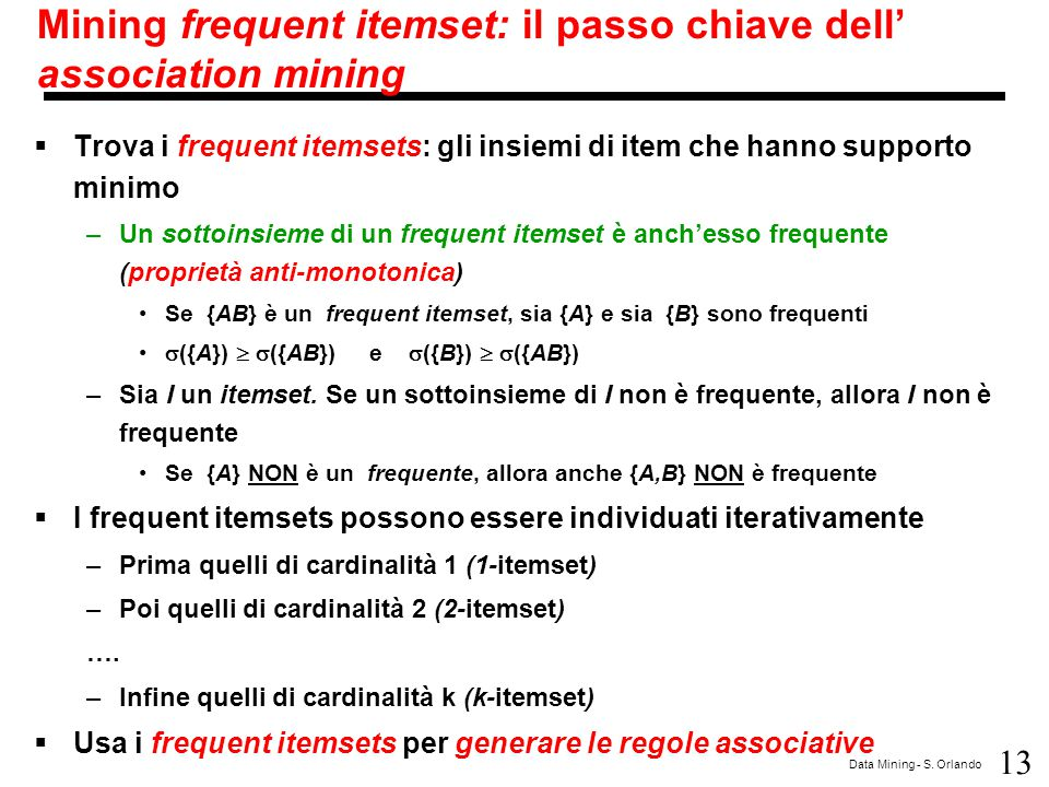 Mining frequent itemset: il passo chiave dell' association mining