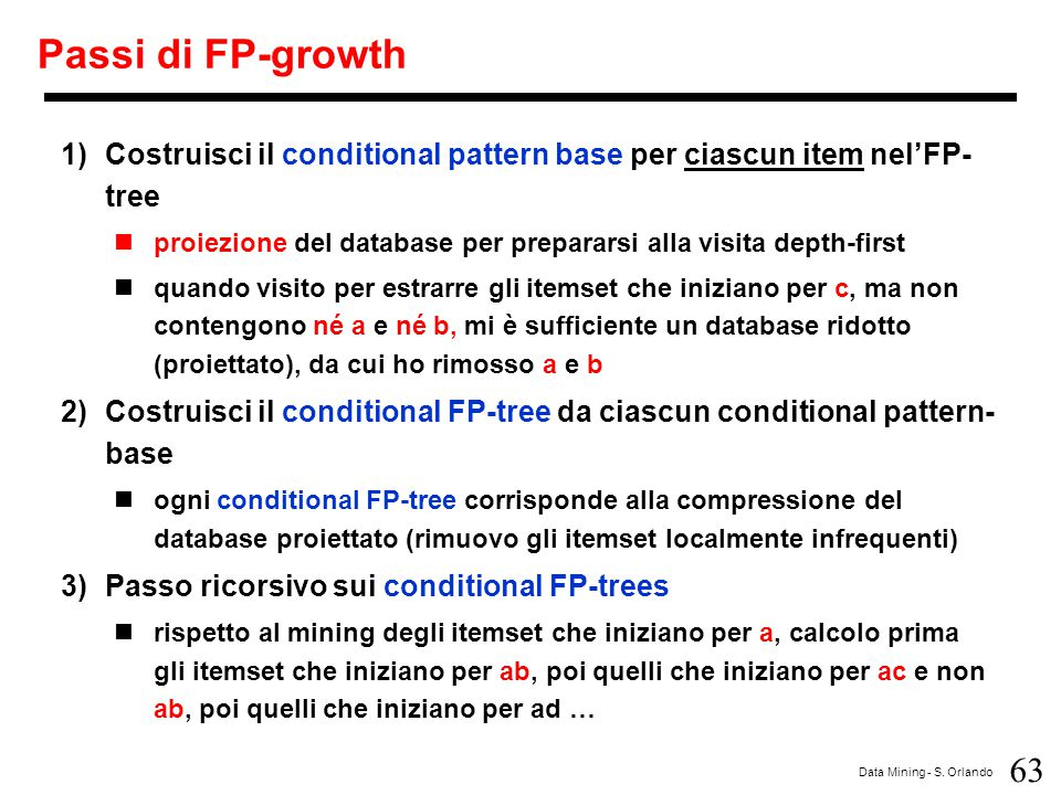 Passi di FP-growth Costruisci il conditional pattern base per ciascun item nel'FP-tree.