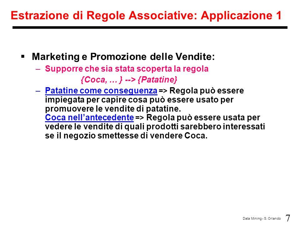 Estrazione di Regole Associative: Applicazione 1