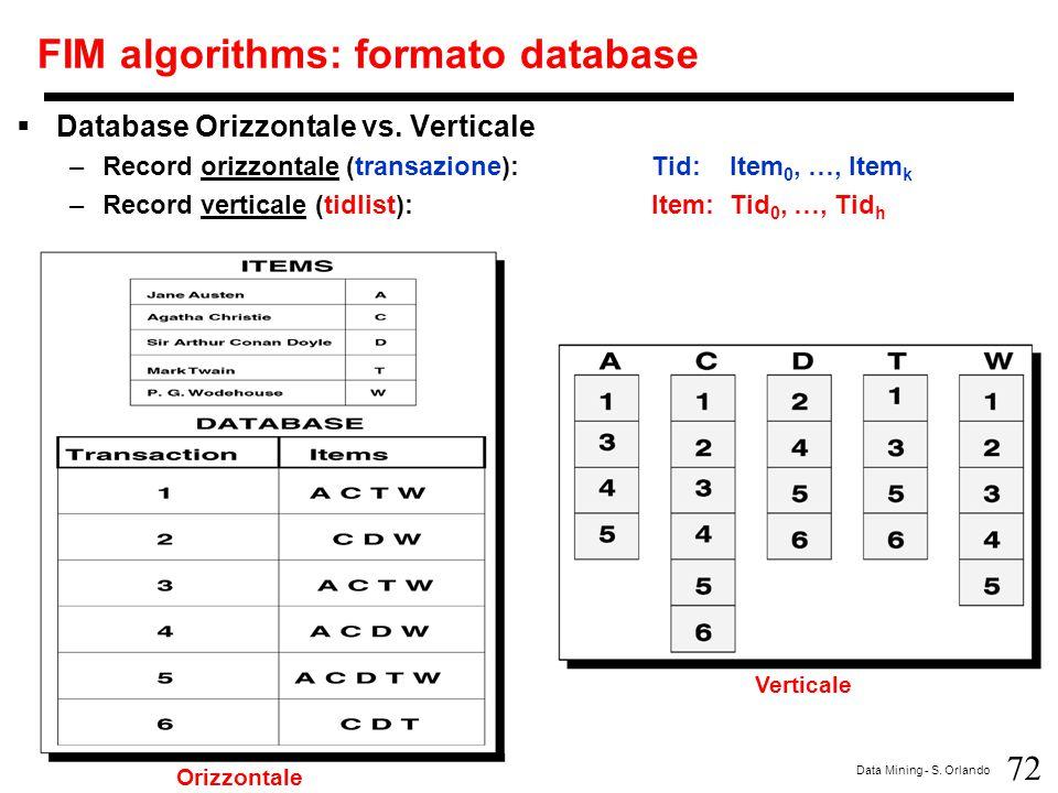 FIM algorithms: formato database