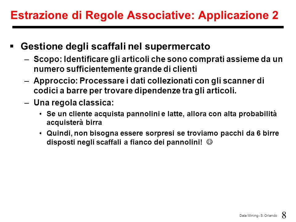 Estrazione di Regole Associative: Applicazione 2