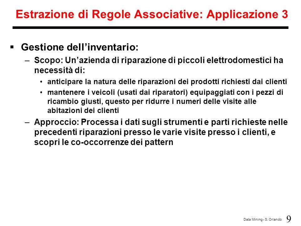 Estrazione di Regole Associative: Applicazione 3