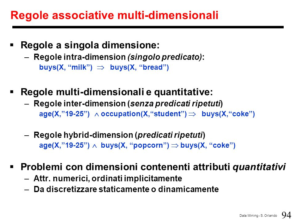 Regole associative multi-dimensionali