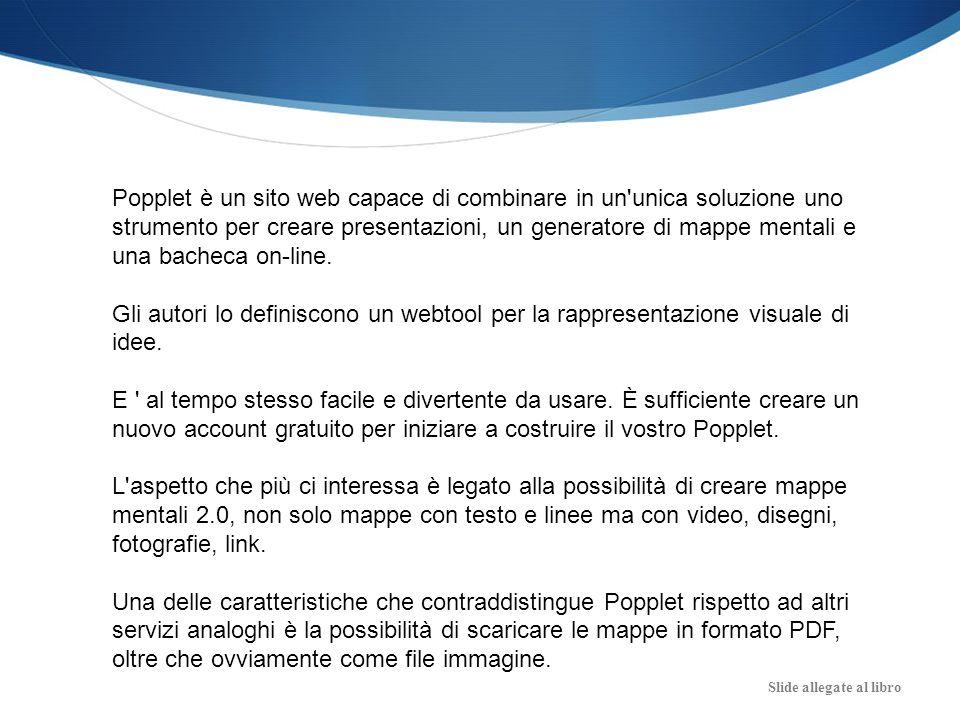 Popplet è un sito web capace di combinare in un unica soluzione uno strumento per creare presentazioni, un generatore di mappe mentali e una bacheca on-line.